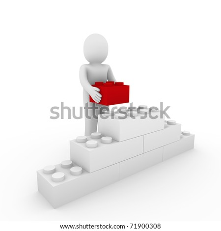 3d human red stone cube wall puzzle business - stock photo