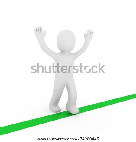 3d human run winner target success first green - stock photo