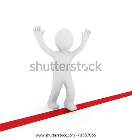 3d human run winner target success first red - stock photo