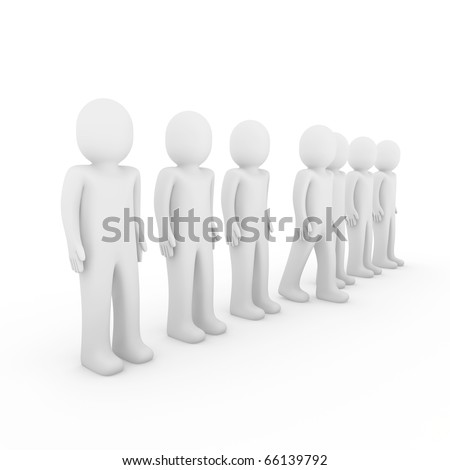 3d human stand crowd isolated white background