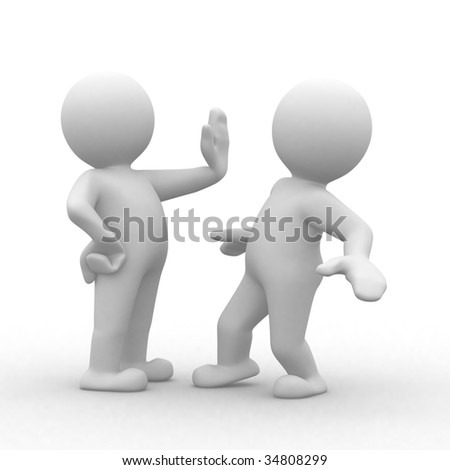 3d human that prohibition other man to pass - stock photo