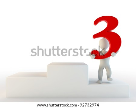 3d human third place, 3d render isolated on white - stock photo
