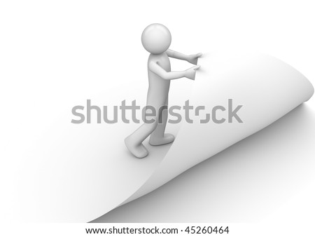 3d human turns page (3d isolated characters series) - stock photo