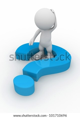 3d human with a blue question mark. 3d illustration. - stock photo