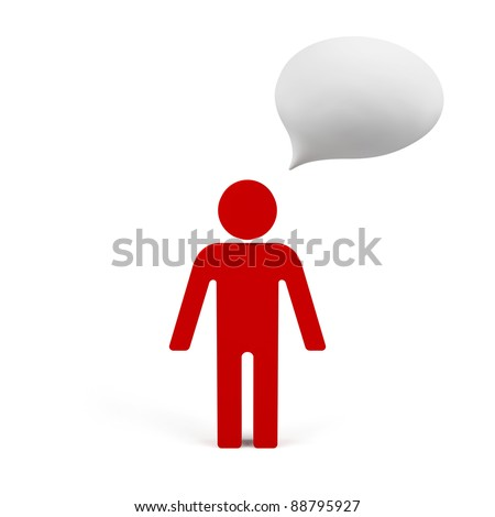 3d human with empty chat. - stock photo