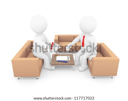 3d human with his hands tied signing a contract. Isolated on white background - stock photo