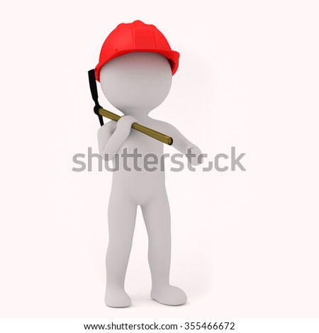 3d Human with pick and a red cap