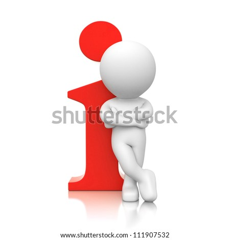 3d human with red info icon - stock photo