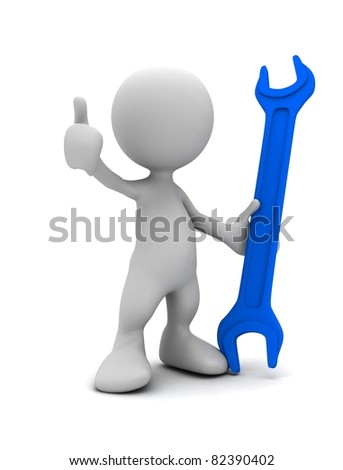 3d human with spanner. 3d illustration.