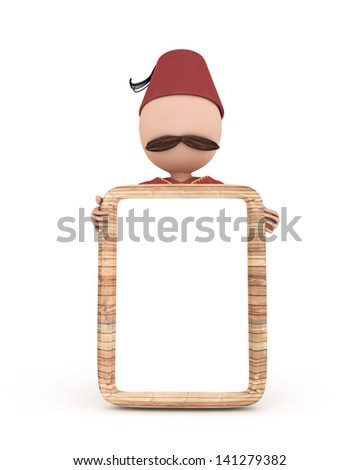 3d human with wooden sign ramadan concept - white isolated - stock photo