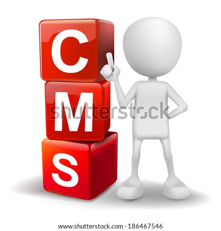 3d human with word CMS content management system cubes on white background - stock photo