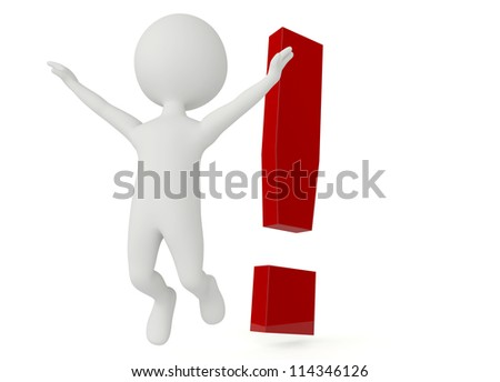 3d humanoid character with a exclamation mark on white