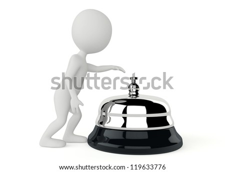 3d humanoid character with a service bell on white - stock photo