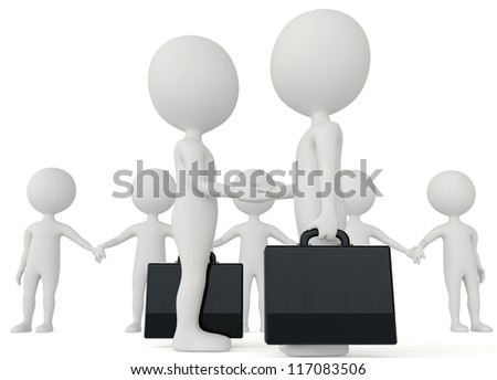 3d humanoid two businessman character with a briefcase shake their hands and a team at the background