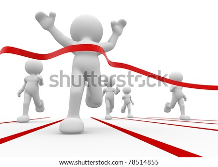 3d humans crossing the finishing line - This is a 3d render illustration - stock photo