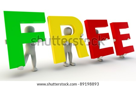 3D humans forming colorfull word Free made from 3d rendered letters isolated on white - stock photo