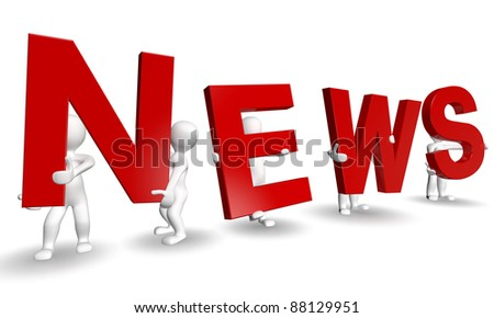 3D humans forming red NEWS word, 3d render isolated on white