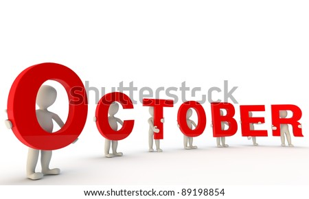 3D humans forming red word October made from 3d rendered letters isolated on white - stock photo