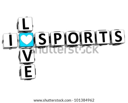 3D I Love Sports Crossword Block text on white background