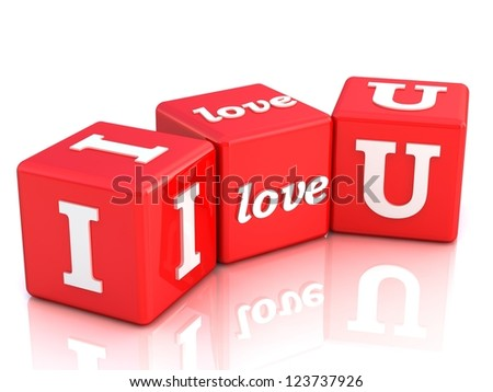 3d i love you on red cubes