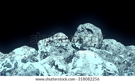 "3D Ice cubes on black background, were created by ""Blender"" software. It show the blue florescent fog that indicate to coolness, magic ..."