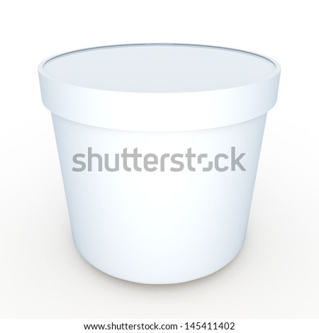 3d ice scream tub , yogurt tub packaging blank template or food container with clipping paths, work paths included - stock photo