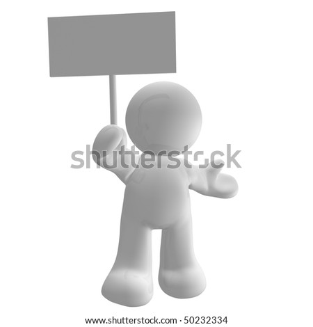 3d icon character with blank message board - stock photo