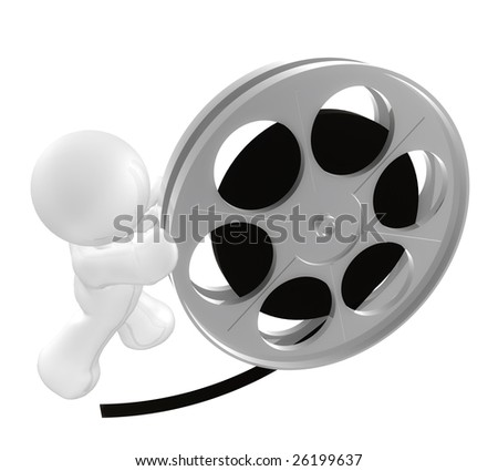 3D icon figure pushing a movie reel roll