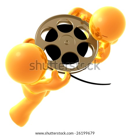 3D icon figures holding a film stock roll - stock photo