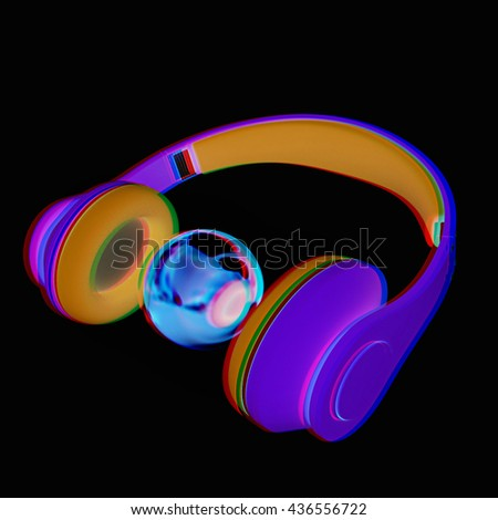 3d icon of colorful headphones and gold ball isolated on a black background. 3D illustration. Anaglyph. View with red/cyan glasses to see in 3D. - stock photo