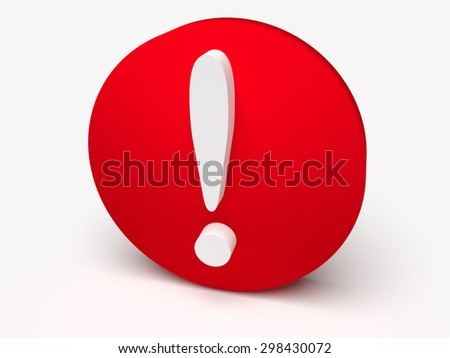 3d icon of exclamation mark on red circle - stock photo