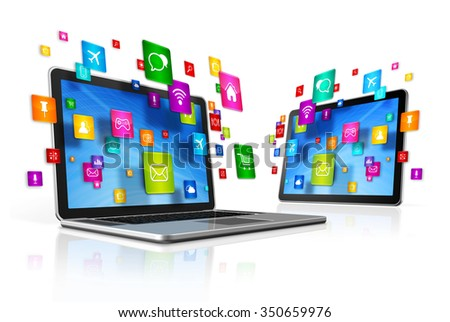 3D Icons flying around Digital Tablet PC and Laptop - stock photo