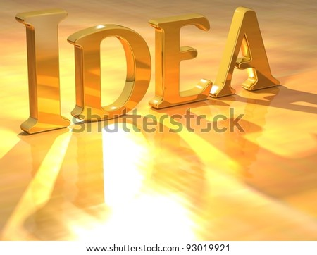 3D Idea Gold text over yellow background - stock photo