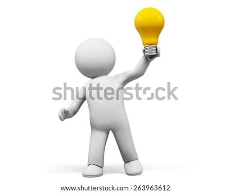 3D. Ideas, Inspiration, Light Bulb. - stock photo