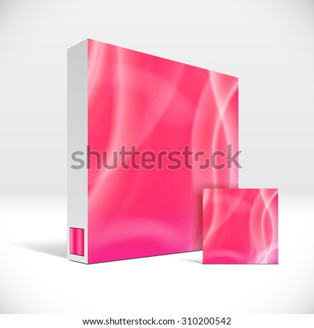 3D Identity packaging box with abstract red lines cover