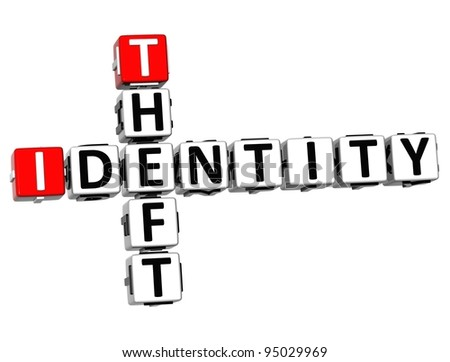 3D Identity Theft Crossword on white background