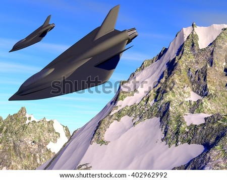 3D illustrated patrol of 2 futuristic fictional black stealth fighter aircrafts flying between snowy mountains