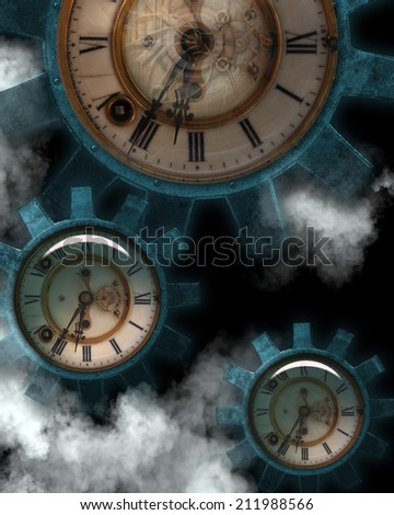 3D illustrated Steampunk background of gears with clock centers and steam.  Ready for all your photo-manipulations and 3D renders.