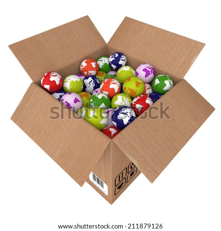 3d illustration a box is complete earth - stock photo