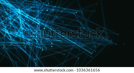 3D illustration. Abstract background image of lines and dots on dark background.