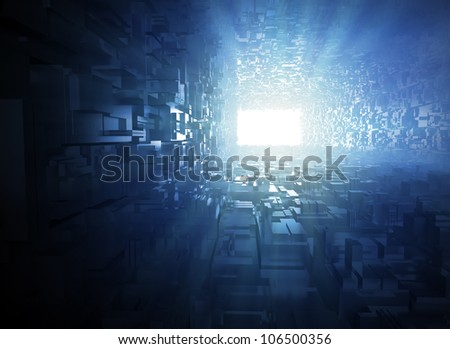3D illustration abstract - light at the end of the tunnel - stock photo
