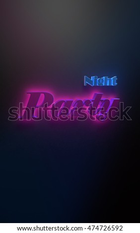 "3D illustration - Advertising poster with text ""Night Party"""
