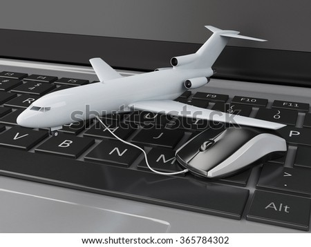 3d illustration. Airplane and computer mouse on computer keyboard. Online booking flight or travel concept. - stock photo