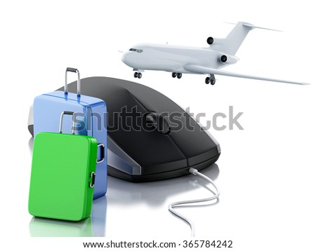 3d illustration. Airplane, travel suitcase and computer mouse. Online booking flight or travel concept. Isolated white background - stock photo