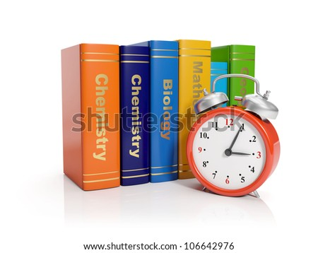 3d illustration: Alarm clock and books. Time to start learning - stock photo