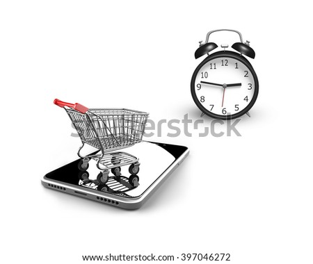 3D illustration, alarm clock with small shopping cart on smart phone, isolated on white, limited time shopping concept. - stock photo