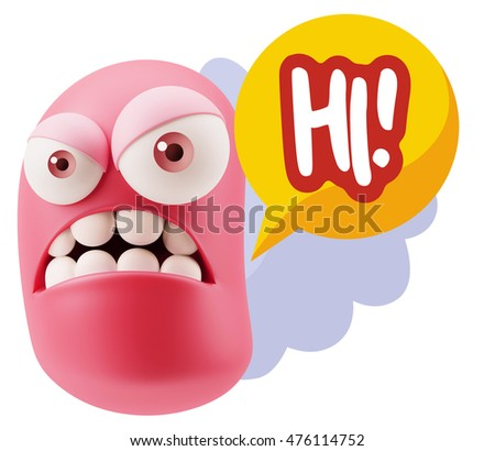 3d Illustration Angry Face Emoticon saying Hi with Colorful Speech Bubble.