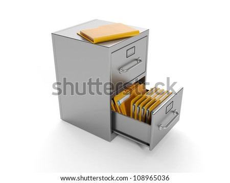 3d illustration: Archive folders. Finding the document - stock photo