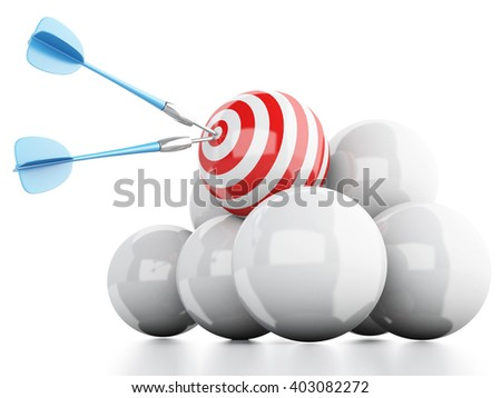 3D Illustration. Arrow in target. Concept of business and success. Isolated white background. - stock photo