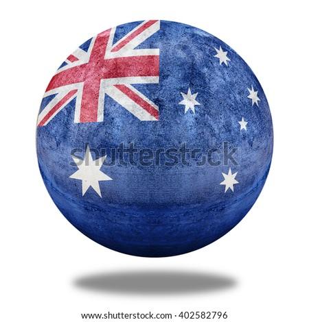 3D illustration Australia flag pattern on stone circle shape texture - stock photo